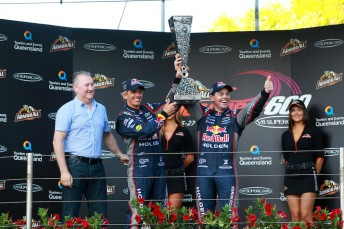 Steve Dutton, Pirtek chief executive with Warren Luff and Craig Lowndes and the inaugural Pirtek Enduro Cup