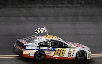 Dale Earnhardt Jr. celebrates his second Daytona 500