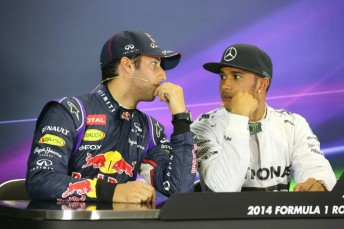 Ricciardo and Hamilton following qualifying