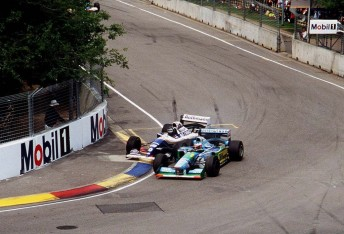 The controversial moment that decided the 1994 world championship when  Michael Schumacher collided with Damon Hill