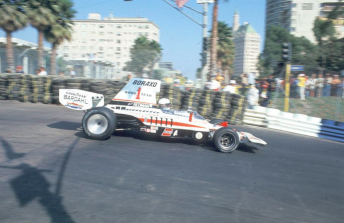 Brian Redman winning the inaugural Long Beach grand prix in 1975 in a Haas Racing Lola T332 F5000