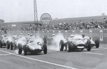 Brabham and Phil Hill lead off the start at Reims in 1960