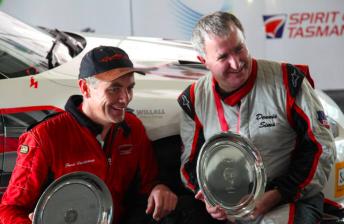 James Vandenberg and Dennis Sims nursed their ailing Nissan GT-R home to win Targa Tasmania