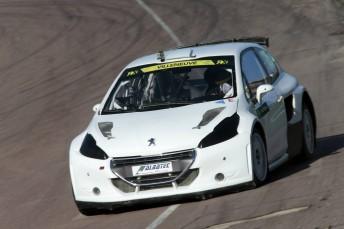 Villeneuve testing his Peugeot 208 at Lydden Hill