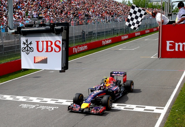 Daniel Ricciardo shocked after taking the chequered flag at Montreal