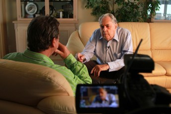 The interview taking place in Sir Jack Brabham's Gold Coast home
