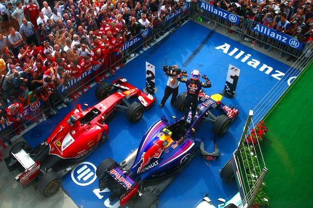 Ricciardo celebrates in parc ferme