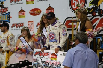 Donny Schatz with the $150,000 winner's cheque