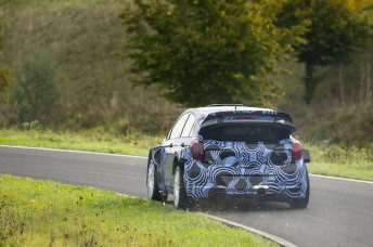 The new generation Hyundai i20 WRC undergoing its maiden test last month