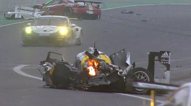 Mark Webber's Porsche 919 was destroyed in the massive crash at Interlagos