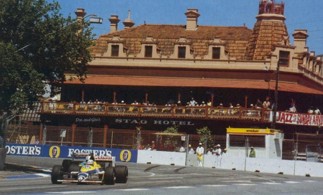 Riccardo Patrese heads onto Rundle Road in 1988