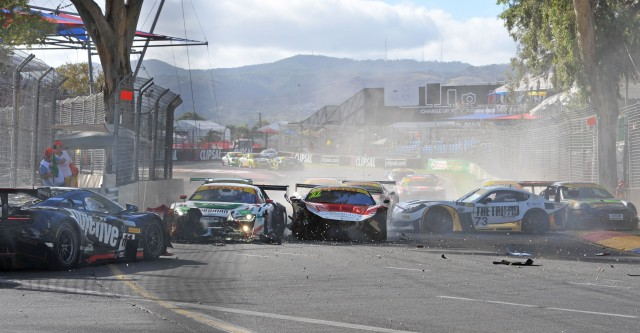 Paul Kelly triggers multiple car pile up in Australian GT Championship encounter Pic by John Morris