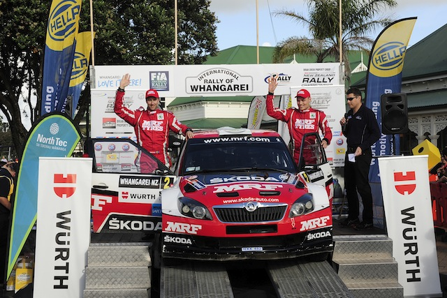 Swedes Pontus Tidemand and co-driver Emil Axelsson celebrate their victory in the International Rally of Whangarei. pic: Geoff Ridder