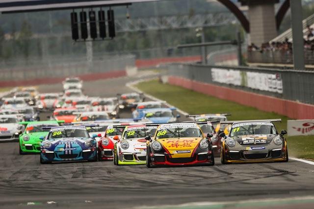 Chris van der Drift leads the Porsche Carrera Cup Asia field