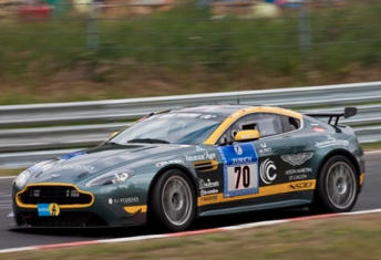 Mal Rose behind the wheel of the Aston Martin at last year's Nurburgring 24 Hour
