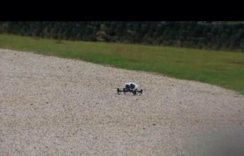 The drone in the gravel trap during the Carrera Cup. pic: Shannons Nationals TV