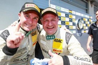 David Russell and Tomas Enge (right) celebrate at the Red Bull Ring