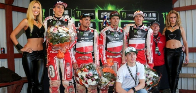 A relieved Polish Team after making it into the Speedway World Cup Final