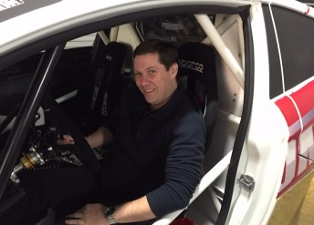 Michael Coyne behind the wheel of the Extreme Rallycross Championship Superlite car