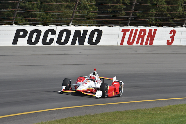 Helio Castroneves has trumped the field to take pole for the ABC Supply 500 at Pocono