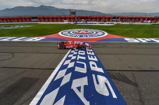 Graham Rahal takes the chequered flag at Fontana after a controversial race in June