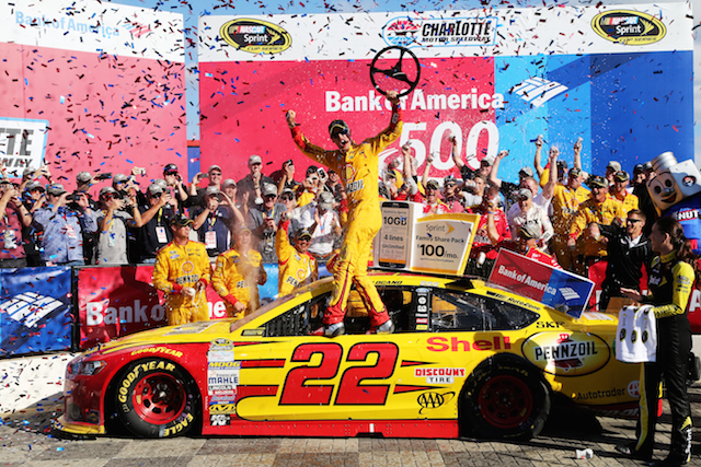 Joey Logano wins the delayed Charlotte NASCAR Sprint Cup Chase race