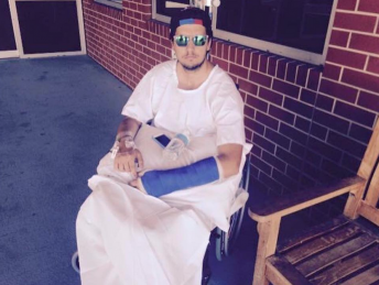 Mostert pictured at Orange Hospital on Saturday. pic via facebook