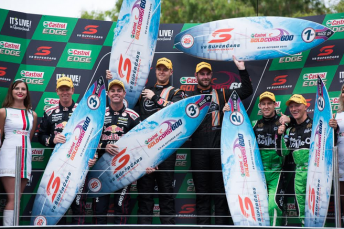 The six drivers with their podium surfboards