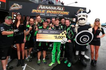 Reynolds and The Bottle-O team celebrate pole