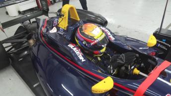 Jordan Lloyd behind the wheel of the Carlin F3 car
