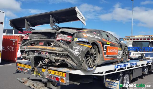 M Motorsport's Lamborghini took significant damage