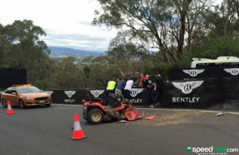 A man has been involved in a serious accident while operating a ride-on lawn mower at Mount Panorama. pic via twitter