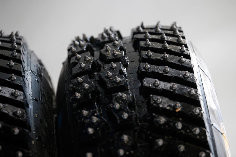The studded rally tyres used in Sweden