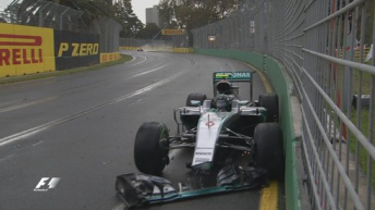 Rosberg suffered front wing damage after a crash at Turn 7