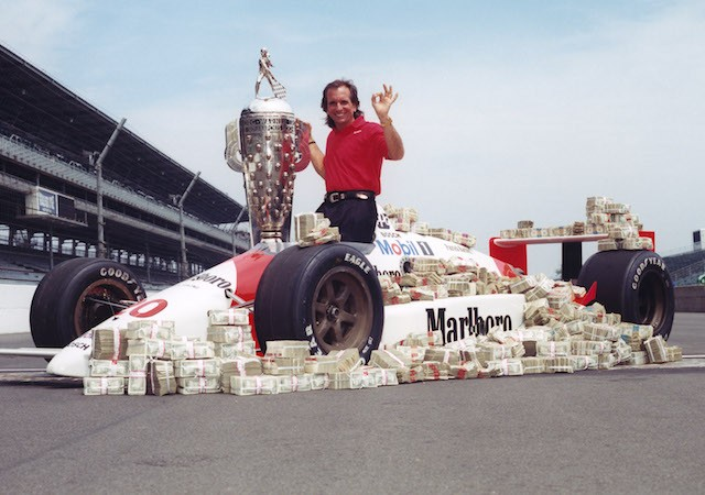 Emerson Fittipaldi in a promotional shot after winning the 1989 Indy 500 for Patrick Racing