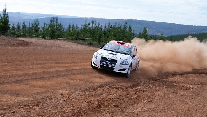 Harry Bates on his way to victory in Heat 1 of the Forest Rally