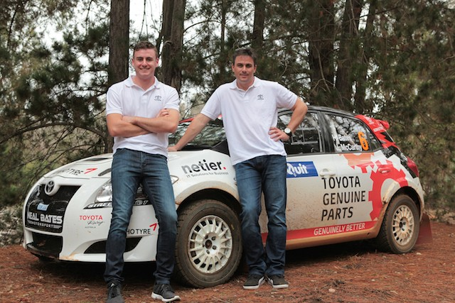 Harry Bates (left) and John McCarthy are ready to go for this weekend's first round of the Australian Rally Championship, the Forest Rally run south of Perth, WA.