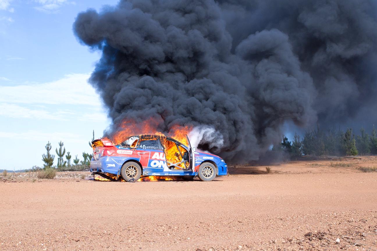 The Brad Markovic Subaru goes up in flames