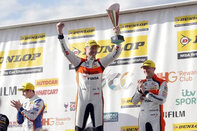 Matt Neal on the podium in Race 3 at Donington Park