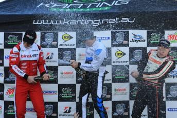 KZ2 winner Marijn Kremers (centre) enjoying the spoils of victory