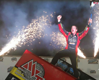 Jason Johnson celebrates in victory lane his first ever Knoxville Nationals win