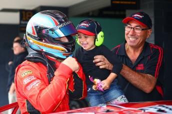 Ricciardello celebrates with his family last year