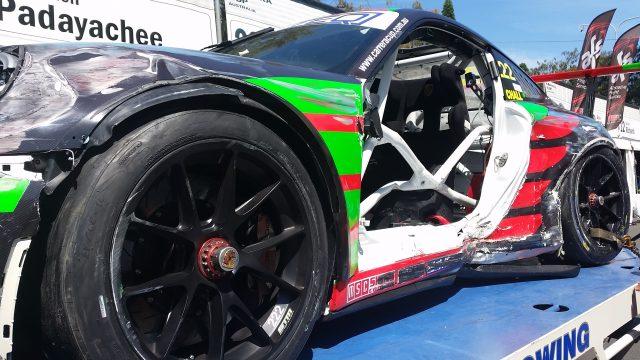 Taylor's Porsche took a sizeable side impact