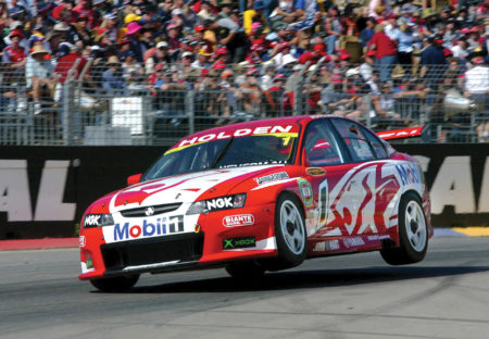 Mark Skaife on the limit around Adelaide in 2003 at the Clipsal 500 in the very popular HRT liveried VZ