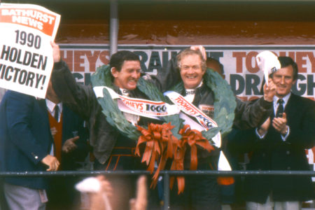 Win Percy and Allan Grice after a victorious 1990 Tooheys 1000 Bathurst win in the Holden VL SS Group A